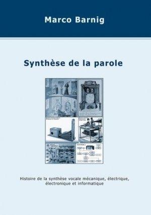 Synthèse de la parole - Books on Demand Editions - 9782322238606 -