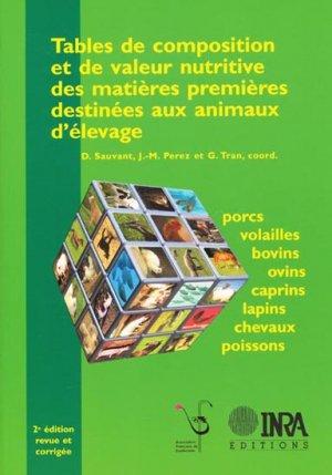 Tables de composition et de valeur nutritive des matières premières destinées aux animaux d'élevage - inra  - 9782738011589
