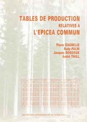 Tables de production relatives à l'épicéa commun - presses agronomiques de gembloux - 9782870160312 -