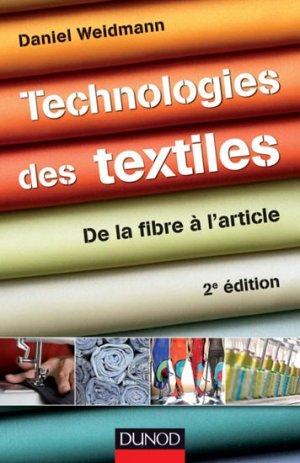 Technologies des textiles - dunod - 9782100575909 -