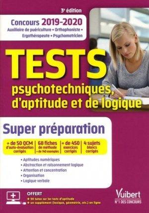 Tests psychotechniques, d'aptitude et de logique Concours 2019-2020 - vuibert - 9782311206319 -