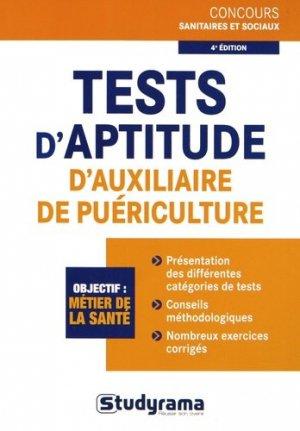 Tests d'aptitude d'auxiliaire de puériculture - studyrama - 9782759024865