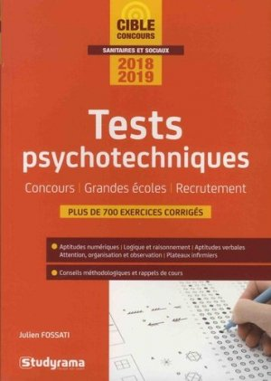 Tests psychotechniques 2018-2019 - studyrama - 9782759037179 -