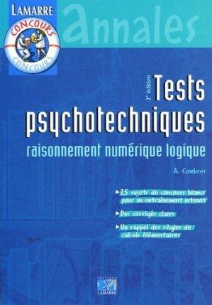 Tests psychotechniques raisonnement numérique logique - lamarre - 9782850309526 -
