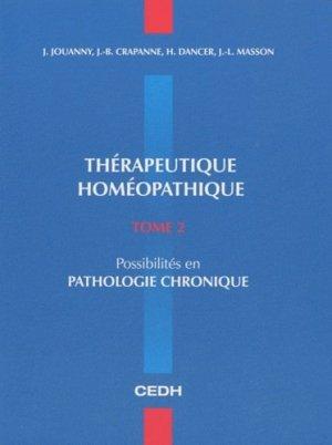 Thérapeutique homéopathique Tome 2 - cedh - 9782915668575 -