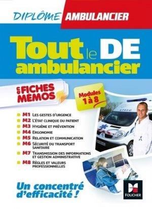 Tout le DE - Ambulancier - modules 1 à 8 en fiches mémos - DEA - Révision - foucher - 9782216149308
