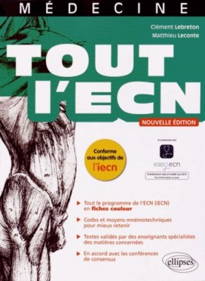 Tout l'ECN - ellipses - 9782340003484 - majbook ème édition, majbook 1ère édition, livre ecn major, livre ecn, fiche ecn