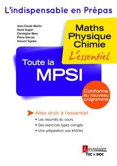 Toute la MPSI - lavoisier / tec et doc - 9782743020712 -