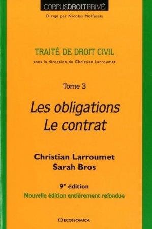 Traité de droit civil. Tome 3, Les obligations - Le contrat, 9e édition - Economica - 9782717870329 -