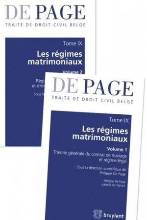 Traité de droit civil belge. Tome 9, Les régimes matrimoniaux, 2 volumes - bruylant - 9782802754268 -