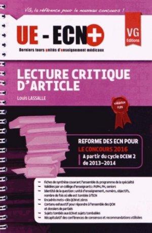 UE ECN+ Lecture critique d'article - vernazobres grego - 9782818309728 -