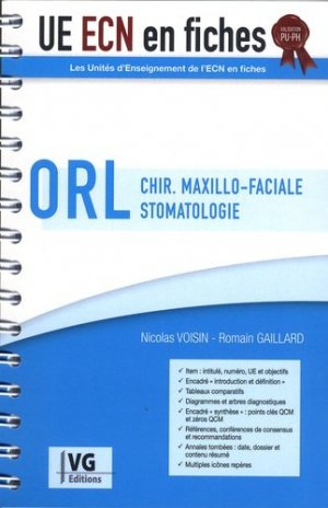 UE ECN en fiches ORL Chirurgie maxillo-faciale Stomatologie - vernazobres grego - 9782818317433 -