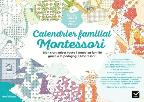 Calendrier Montessori 2021 Calendrier familial Montessori. Edition 2020 2021 Hatier