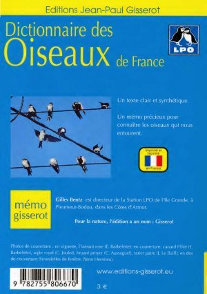 dictionnaire des oiseaux de france gilles bentz lpo 9782755806670 jean paul gisserot m mo. Black Bedroom Furniture Sets. Home Design Ideas